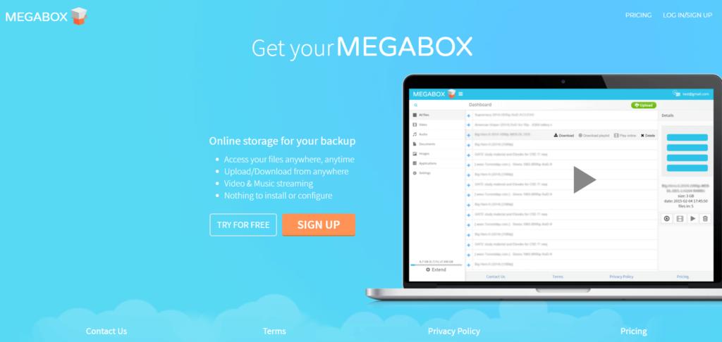 Landing page - Megabox review