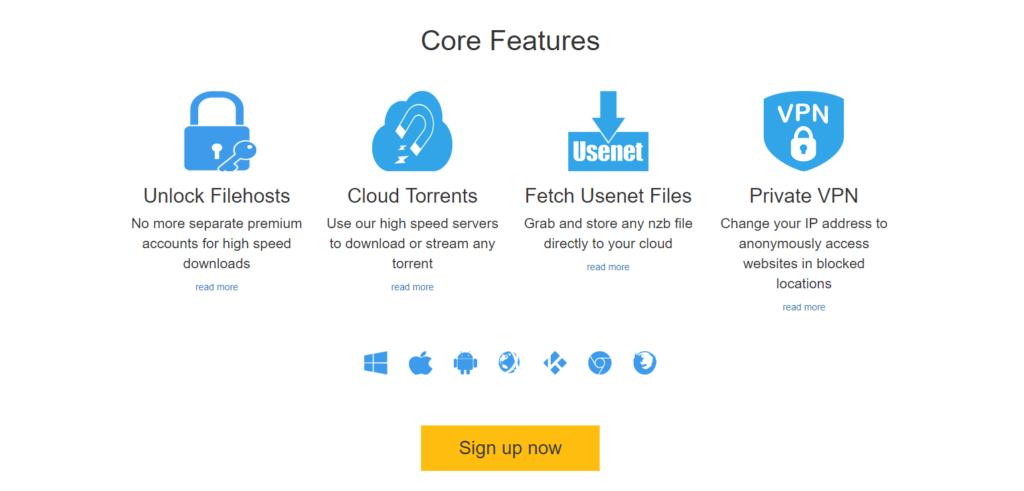 Premiumize Core features