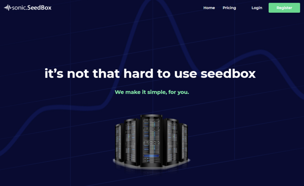 landing page of sonicseedbox