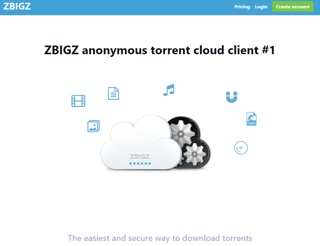 Landing page - Zbigz Review