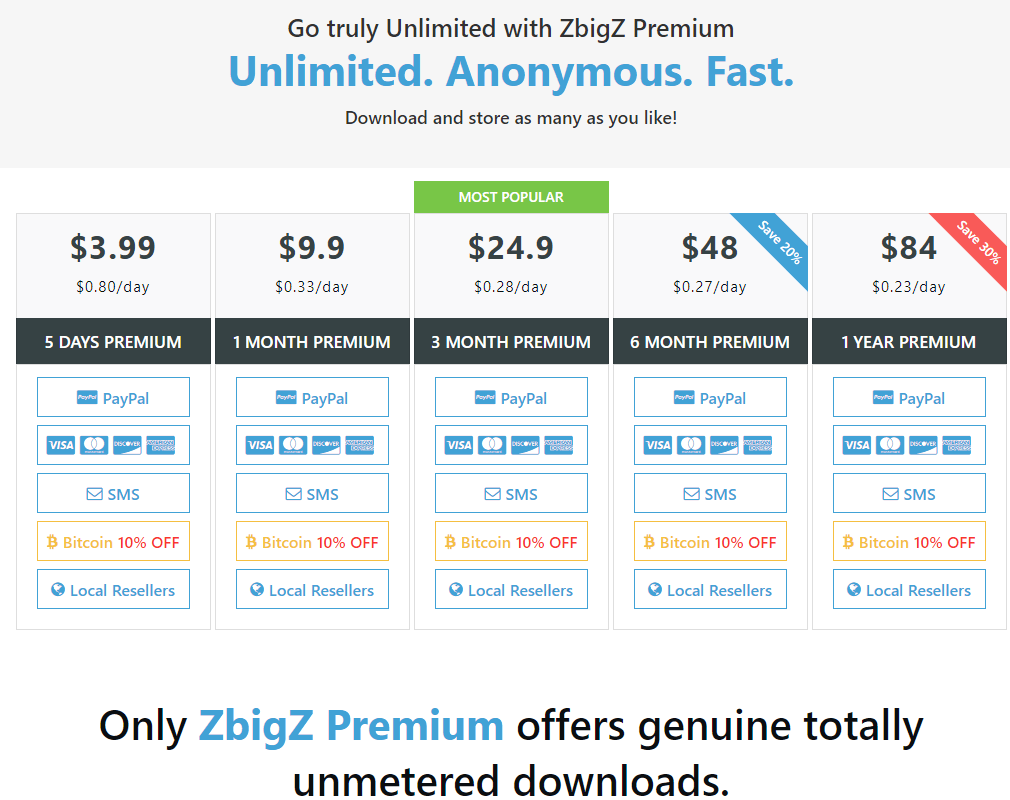 Pricing page of Zbigz - Zbigz review